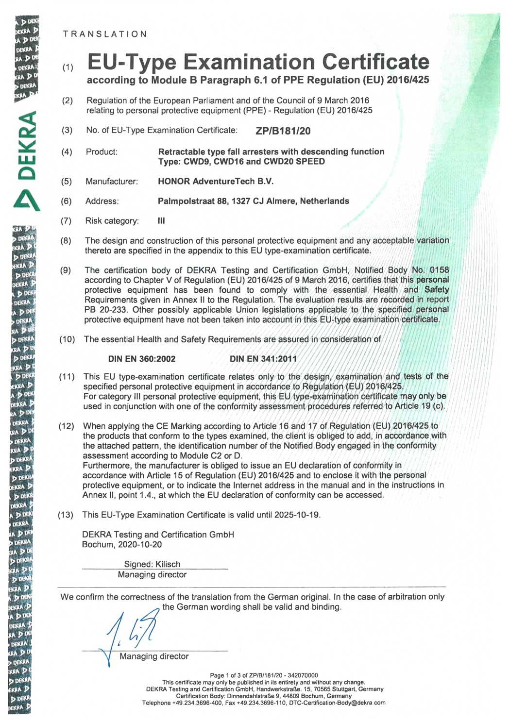 Certificaat-CWD9,-CWD16-&-CWD20-SPEED---EN-341-2011-&-EN-360-2002