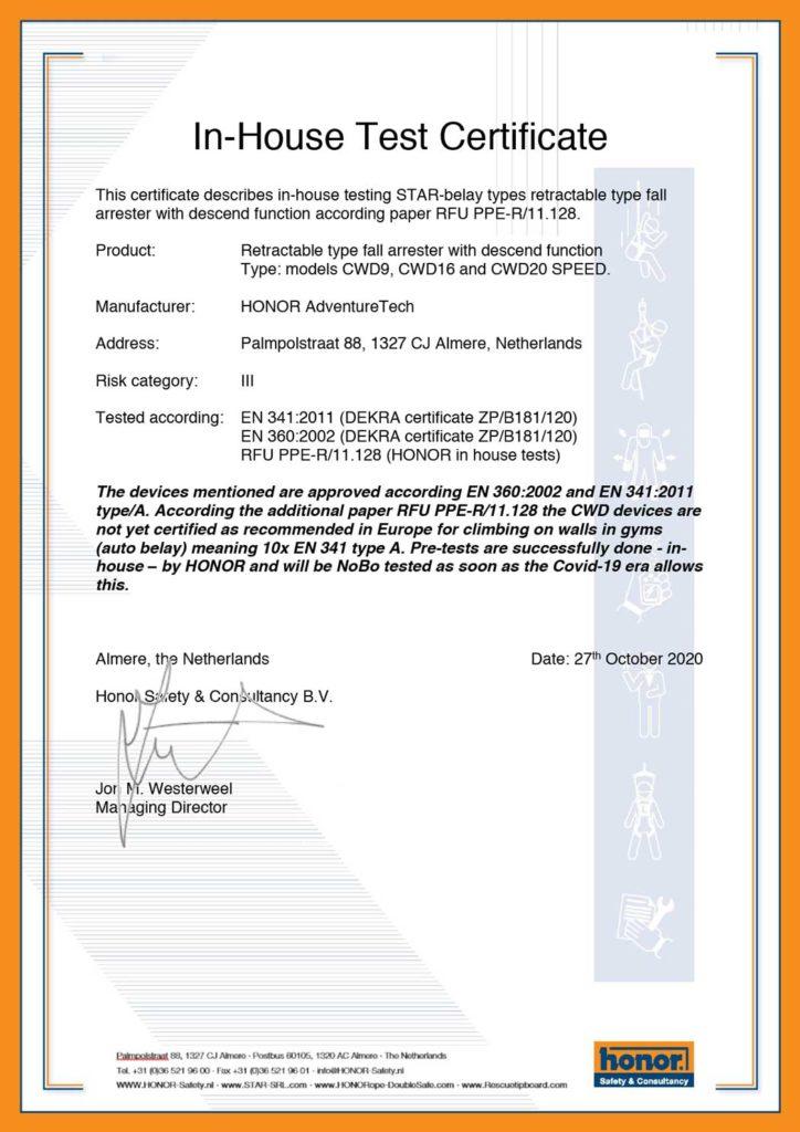 Certificaat-ISO-HONOR-fabricageproces,-PBM-Verordening-(EU)-2016-425-Module-C2 01