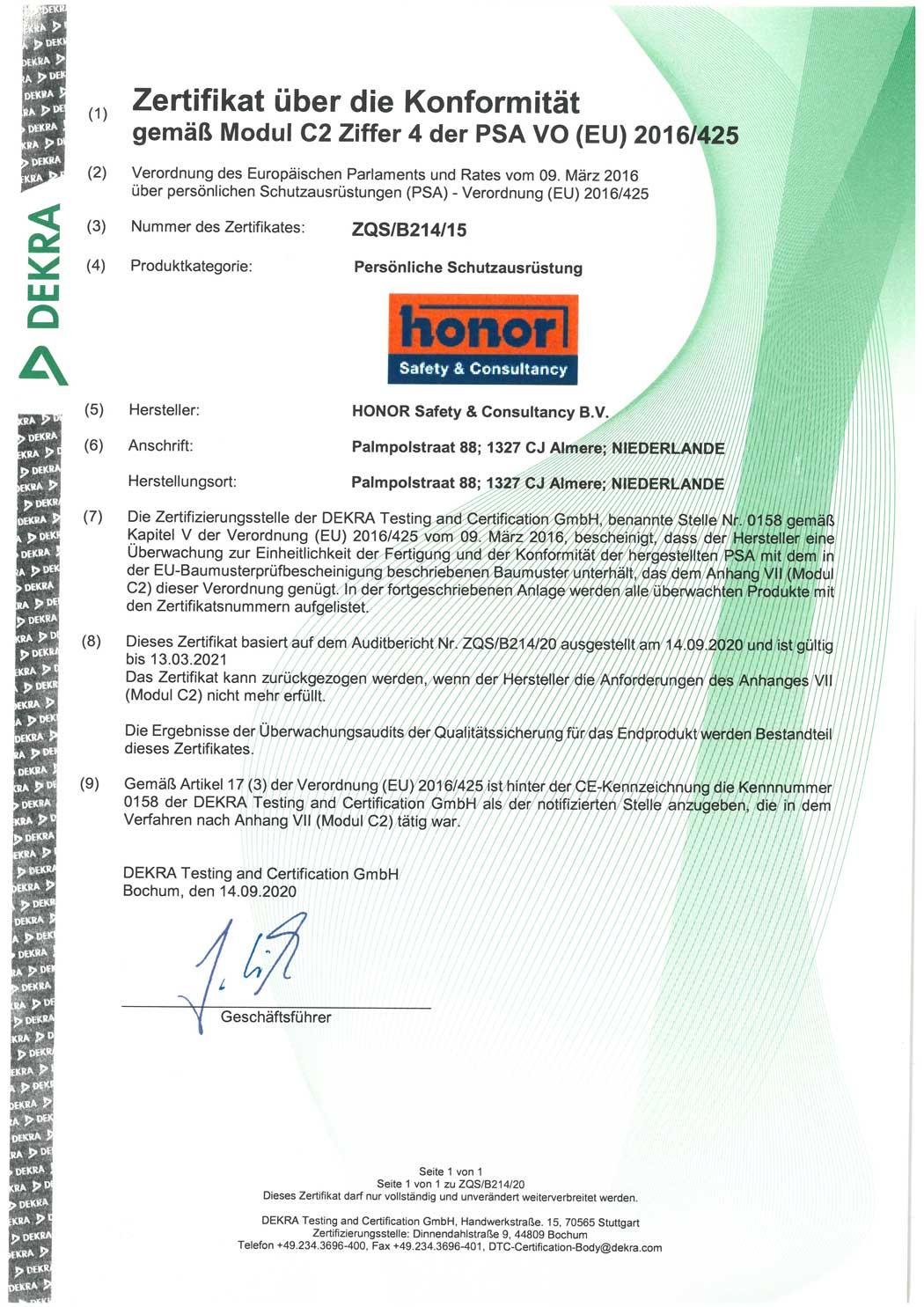 HONOR-manufacturing-process-PPE-Regulation-2016-425-Module-C-par.-4