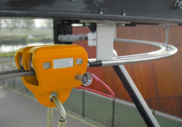 HONORope-Double-Safe-valbeschermingssysteem-trolley-passeert-bocht