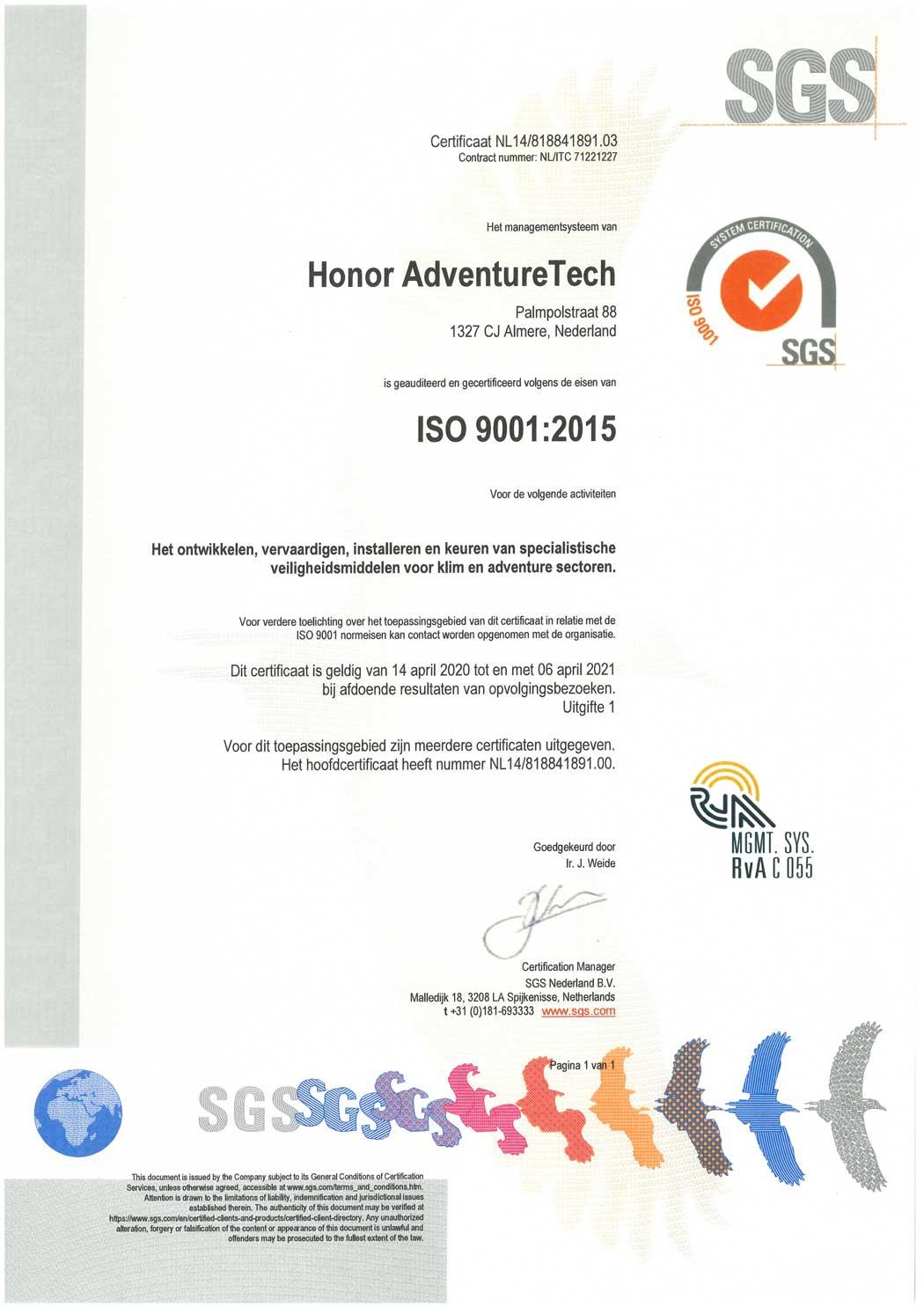 ISO-9001-2015-certificaat-HONOR-AdventureTech